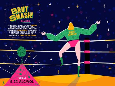 Brut Smash IPA character design man fight hop label design can ipa wrestling illustration beer