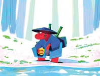 Monster Project 2019 river frog ronin samurai illustraiton