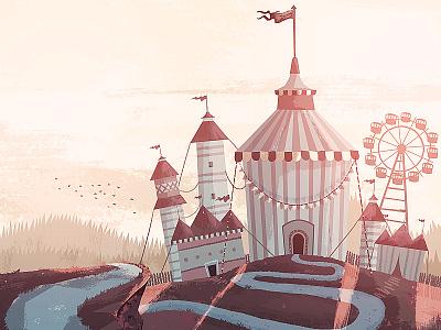 Circusin' illustration circus tent hill path ferris wheel birds landscape
