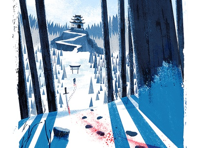 Ronin illustration snow samurai ronin japan blood sword forest texture