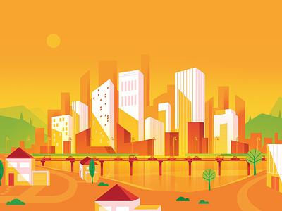 Skyline day vector skyline city illustration