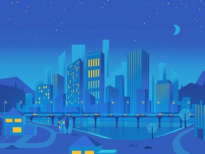 Skyline night city skyline vector illustration
