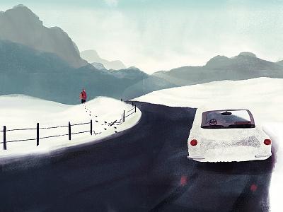 Getaway illustration car snow fence man road ice