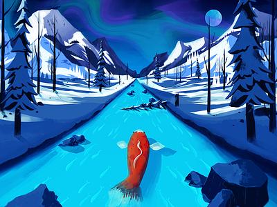 Don't be Koi illustration koi snow trees mountain moon aurora river rock
