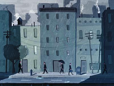 Winterdays illustration rain city umbrella men winter