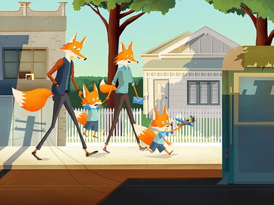 a leash of foxes illustration fox house building tram road tree family