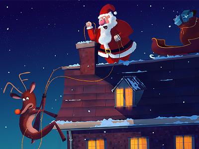 Clumsy illustration santa rudolph slay house chimney christmas snow