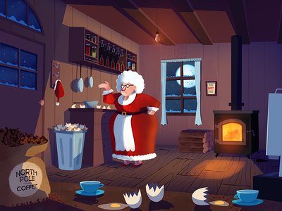 Making a mess illustration coffee eggs fire north pole claus christmas xmas