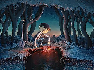 What Lies Beneath? illustration grave victorian boy book cover shovel trees skyline london torch lantern