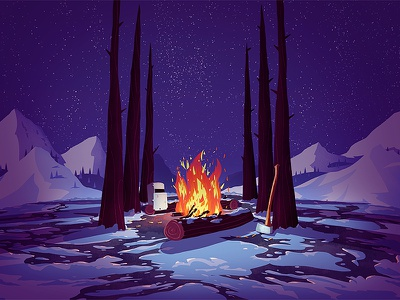 Porter illustration beer label beer label fire logs camp fire axe trees snow winter