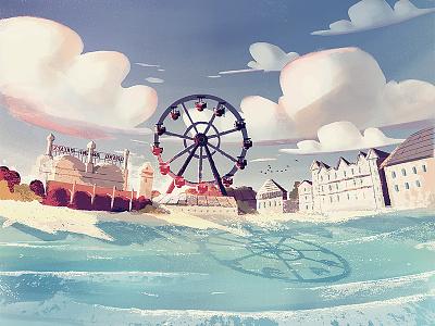 Orchard Beach illustration maine beach ferris wheel clouds water ocean waves sun