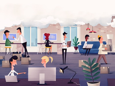 The Cloud illustration office male female workers design studio cloud computing