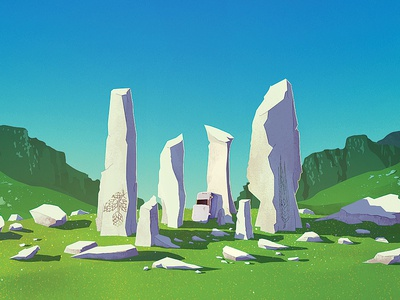 Celtic Red Ale sky mountains rocks stonehenge ireland beer red ale illustration