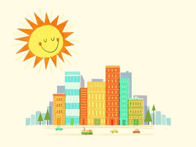 Sunny CIty tree buildings sun car tram melbourne city illustration