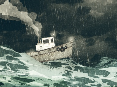 Tugboat illustration texture cd artwork tugboat storm