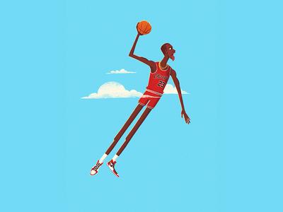 His Airness clouds character jordan nike basketball nba illustration