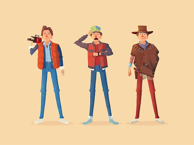 Back To The Future hat poncho jeans character marty mcfly back to the future illustration