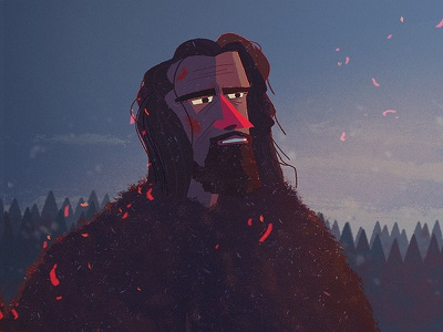 The Revenant movie leo fur fire ember forest snow character illustration