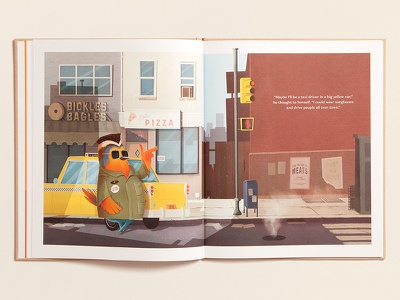 What Will I Be... Taxi Driver? bagel pizza street taxi cab new york robin bird character kids book robert de niro illustration