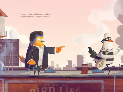What Will I Be... Policeman? rooftop seagull cab new york robin bird character robert de niro illustration