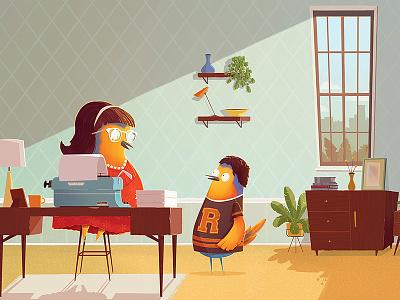 What will I be Mum? apartment desk mid century new york robin bird character illustration