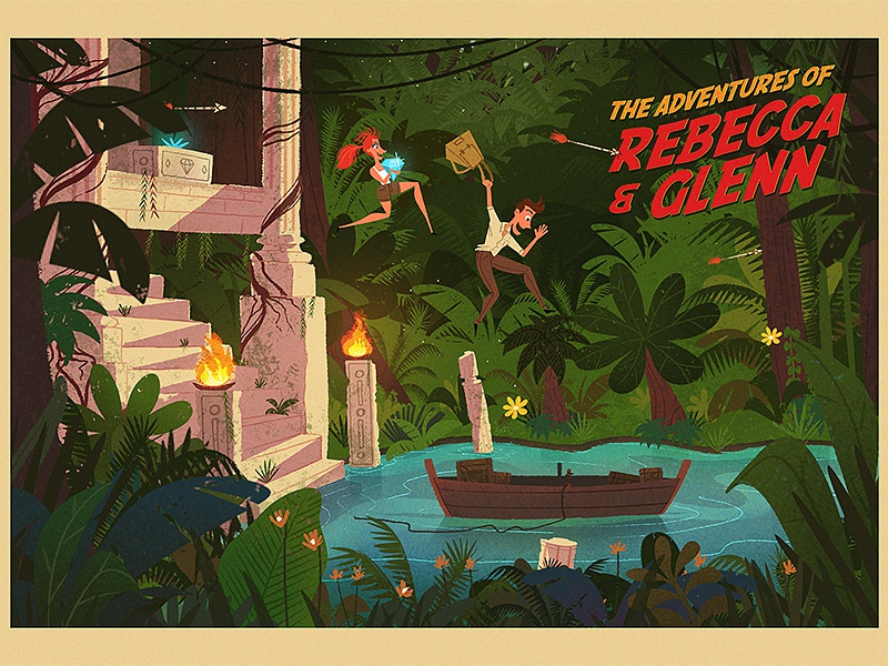 Adventure! boat diamond temple jungle illustration