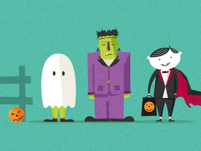 Halloween illustration halloween frankenstein ghost dracula