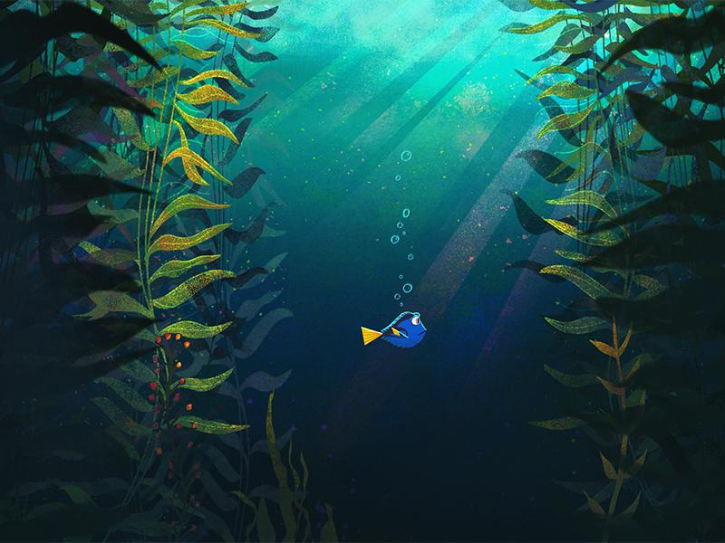 Just Keep Swimming ocean water kelp seaweed fish finding nemo finding dory pixar illustration