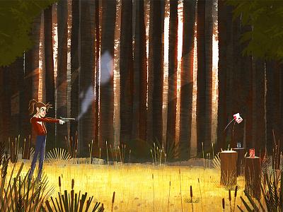 Nancy trees woods girl fan art stranger things illustration