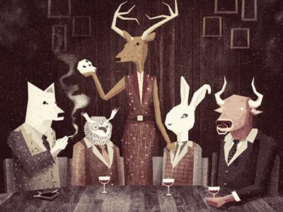 Dinner for Schmucks  illustration texture cd artwork wolf owl deer rabbit bull wine dinner cabin