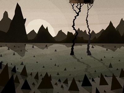 All My Friends update illustration cd artwork work in progress house thorns mountains sun