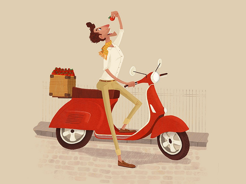 Stop! Tomato time. italy man eating tomato vespa illustration