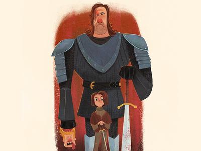 Rampage death sword arya stark the hound game of thrones illustration