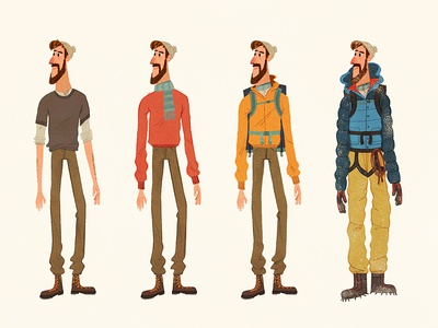 The Mountaineer winter man climbing character. hiking illustration