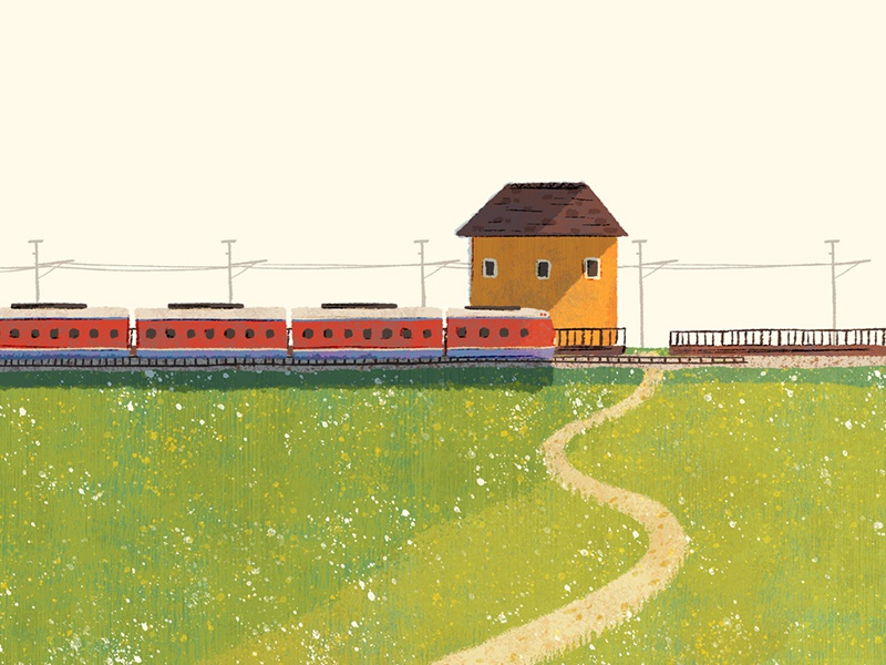 The Train field train illustration