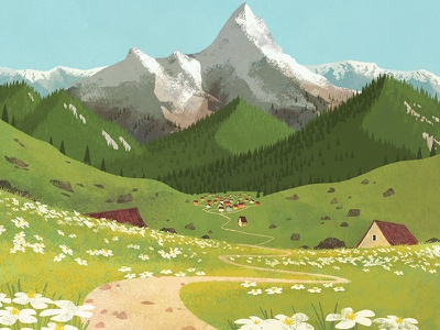 The town mountain field town illustration