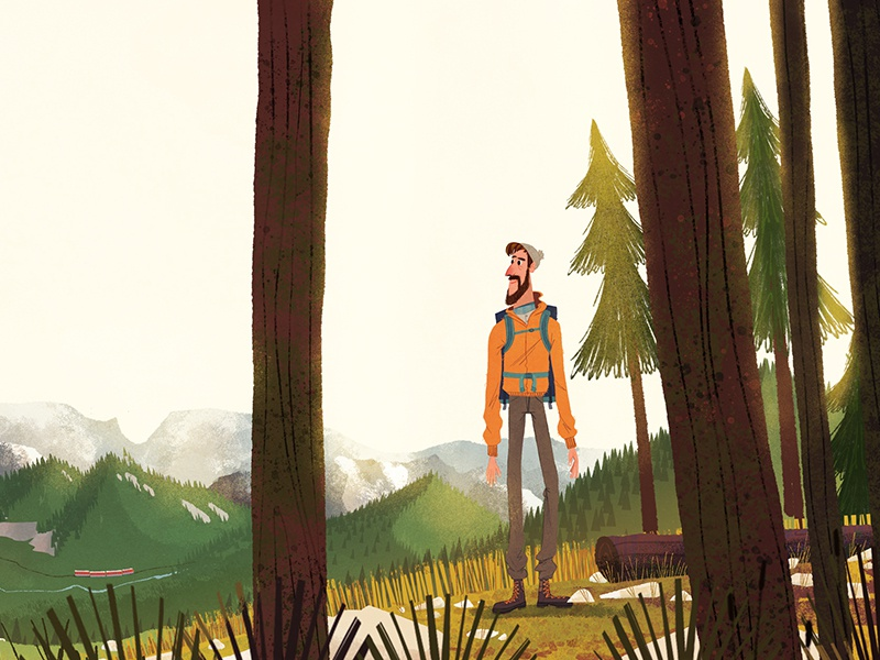 The hike grass mountain hiking character illustration