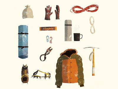 Gear coffee jacket rope hiking layout gear illustration