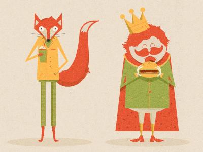 Fire Sale illustration texture stationary a5 fox king burger shake