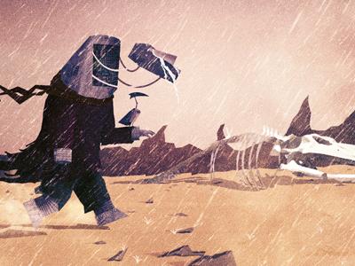 Shelter illustration texture whale bones rain robot bird friends