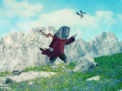 To The Top! illustration cd artwork bird robot best friends hiking mountains rocks flying