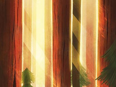 59 Parks sun trees plants ferns forest deer park illustration