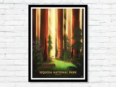 59 Parks Sequoia redwood national park poster sun trees plants ferns forest deer park illustration