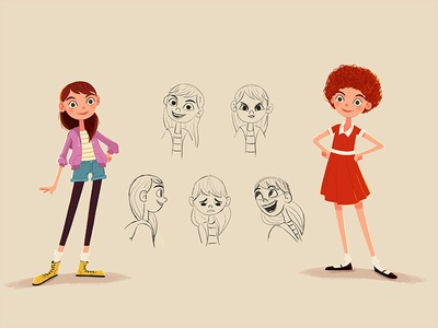 Annie face woman girl expressions character illustration