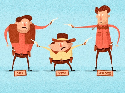 Squabble illustration editorial cowboys hat iphone vita 3ds standoff