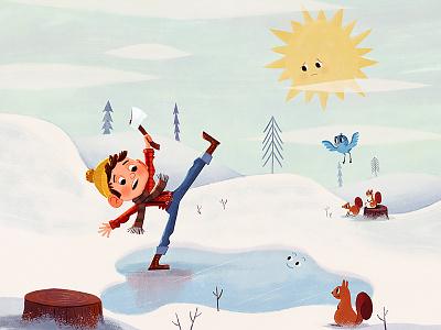 Strong Jack lumberjack winter boy squirrel bird sun illustration