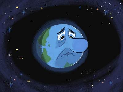 'Happy' Earth Day space sad earth character design illustration