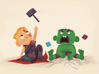Marvel Babies avengers marvel hulk thor illustration