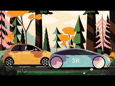 A scenic drive car tree background design animation illustration