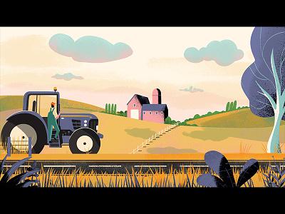 Paragon farm hillside tractor countryside background design animation illustration